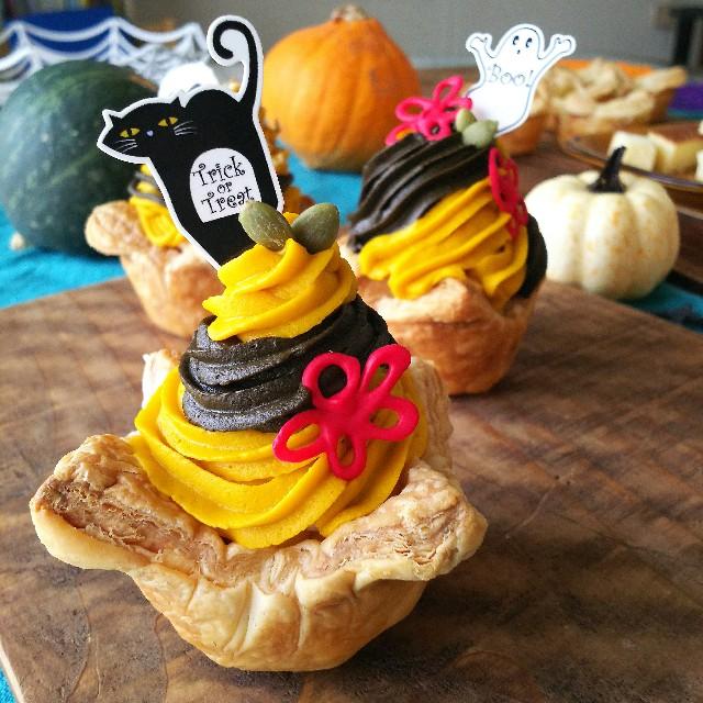 ハロウィンレシピのかぼちゃのモンブランカップタルト