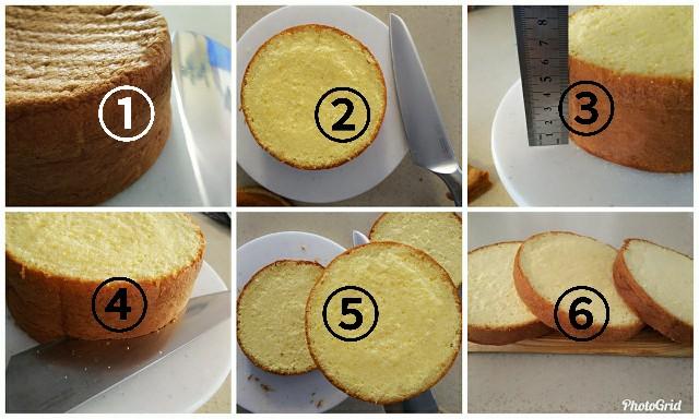 スポンジケーキのスライス方法