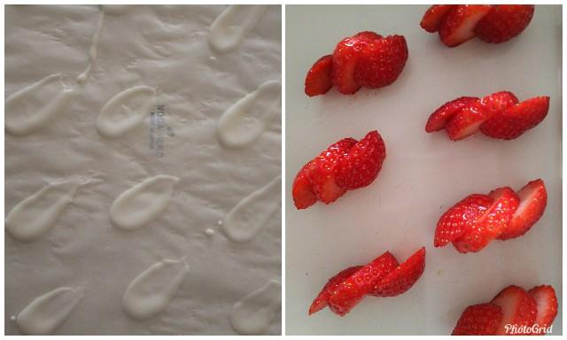 苺をホワイトチョコでデコレーション