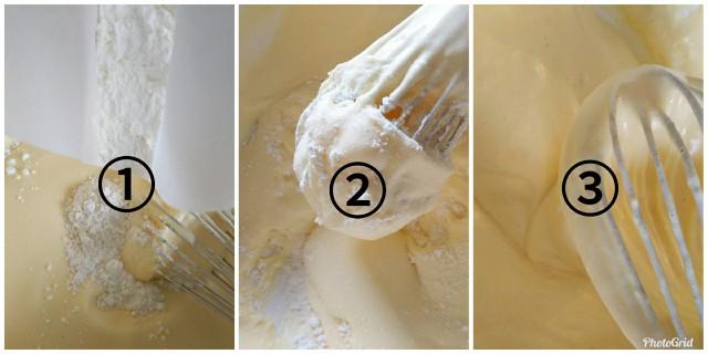 小麦粉をホイッパーで混ぜる
